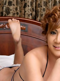 Cute young ladyboy stroker