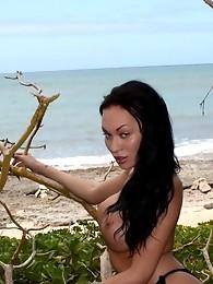 Seductive tgirl Mia Isabella stripping in Hawaii