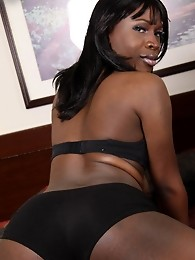 Young and slim black tgirl who started out but got hot and hard real quick