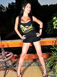 Amazing brunette TS Bruna Rodriques stripping