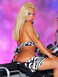 Sexy shemale biker exposing her huge cock