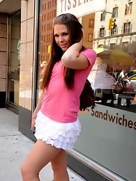 Transsexual sweetie Ashley George posing in public