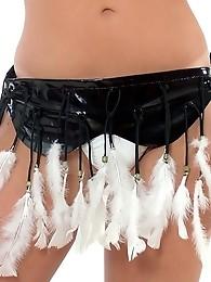 Dark haired shemale with great tits in bikini