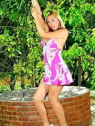 Sweet tgirl showing off her big cock outdoors