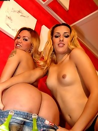 Two cute Tgirls suck and fuck one another into ecstasy!