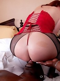 Naughty BBW tgirl gets fucked by a black stud