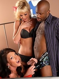 Two hot tgirls getting it on with a black dude